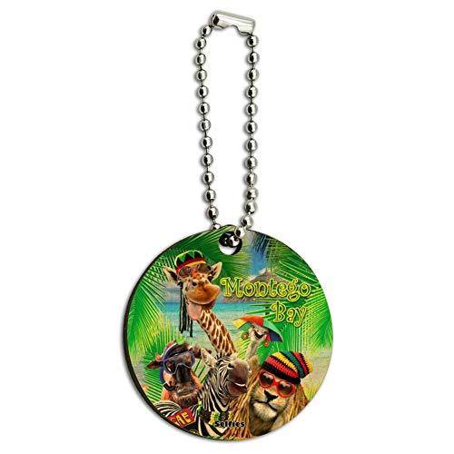 Montego Bay Jamaica Giraffe Zebra Lion Wood Wooden Round Keychain Key Chain Ring