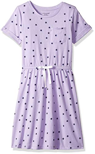 Amazon Essentials Big Girls' Short-Sleeve Elastic Waist T-Shirt Dress, Lilac Breeze/Navy Depths Mixed Star with White Bow, XXL