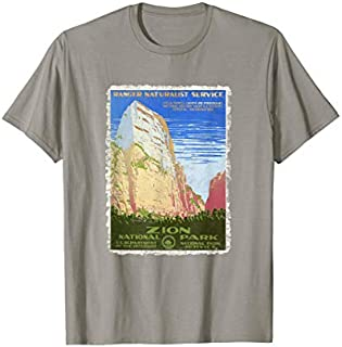 Vintage Poster -Zion National Park Retro T-shirt | Size S - 5XL