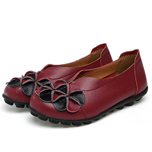 O & N Kvinners Damene Lær Uformelle Loafers Flat Båt Drivende Sko Slip Ons Vin
