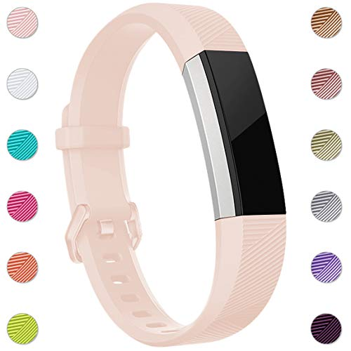 Maledan Replacement Bands Compatible for Fitbit Alta, Alta HR and Fitbit Ace, Newest Accessories Wristbands Sport Strap with Secure Metal Buckle for Fitbit Alta HR/Alta/Ace, Small, Blush Pink