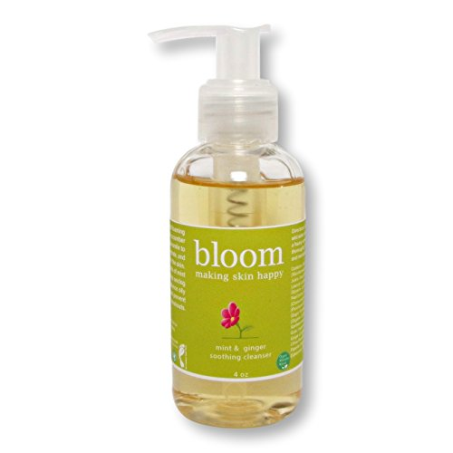 Organic Natural Face Wash. Nourishing, Anti Acne for Oily, Dry, Normal Skin. Vitamin C, E. Exfoliating. No Sulfates. Vegan, Cruelty Free. Mint & Ginger Soothing Cleanser by Bloom Making Skin Happy