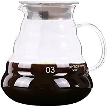 Range Coffee Server 800ml 27oz Carafe Pour over Kettle Thickened Glass Heat Resist Drip Pot for Hand Drip Coffee Tea Water etc. by Senhs