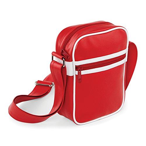 del Classic White 15x21x7cm francesa traves de la bolsa genuino hombro cuerpo BagBase bolsa Red unisex volver a bolsa Blanco marino 2L AwOqPO1RU