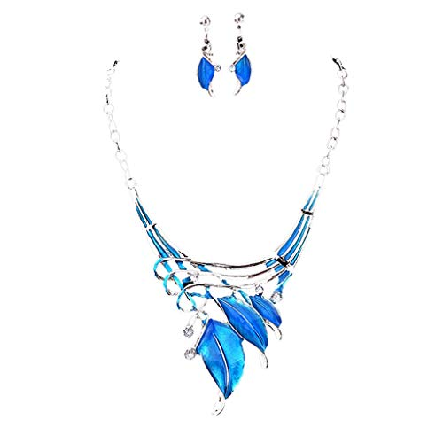 tfulvan Women's Classic Leaf Shape Color Diamond Necklace Earrings Jewelry Set Mother's Day gift ()