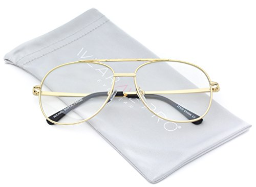 WearMe Pro - Metal Frame Gold Silver Clear Aviator - Vintage Glasses 70s