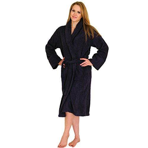 NDK New York Women's and Men's Terry Cloth Bath Robe 100% Cotton, Navy, 2X/3X