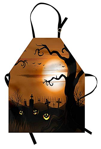 MIGAGA Halloween Apron, Leafless Creepy Tree with Twiggy Branches at Night in Cemetery Graphic Drawing, Unisex Kitchen Bib Apron with Adjustable Neck for Cooking Baking Gardening, Brown Tan -