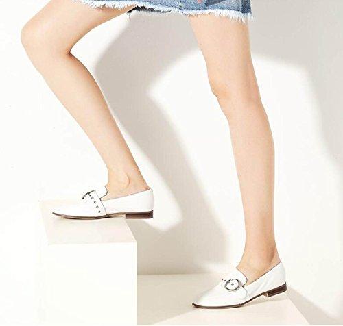 Holgazán Zapatos Nuevos Genuino De Ximu White Zapatos Casuales Mujer Bombas Cuero Zapatos De De Cómodo Saq8Tpw