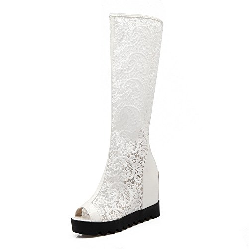 1TO9 Womens Quilted Kitten-Heel Kitten-Heel Urethane Boots MJS03157 White 0RQxHdcC