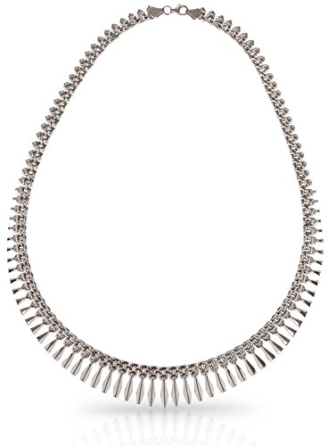 Sterling Silver Stampato Chain - SilverLuxe Sterling Silver Rhodium Plated Graduated Design Bib Style Cleopatra Necklace