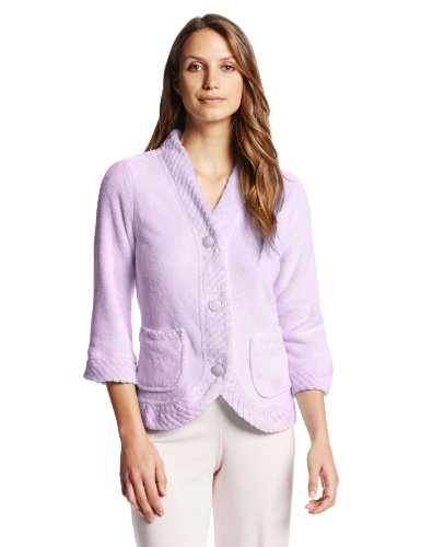 Casual Moments Women's Bed Jacket with Velcro Closings, Lilac, Small