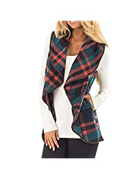 SJLee Clothes Womens Vest Plaid Sleeveless Lapel Open Front Cardigan Sherpa Jacket Pockets