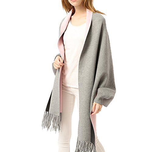 ZISUEX Women Embroidery Cloak Poncho Shawl Wrap Fashion Scarf Tassels Pashmina (Gray Pink-Soild Color)