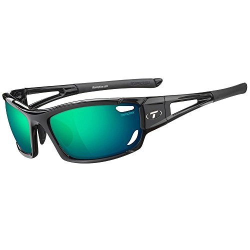 (Tifosi Optics Dolomite 2.0 Sunglasses Gloss Black/Clarion Green-AC Red-Clear, One Size - Men's)