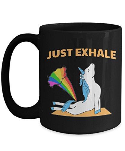 Art Matters Flying Dragon (Unicorn Coffee Mug | Just Exhale Funny Unicorn Yoga Farting Rainbow Mug |15oz Ceramic Black)