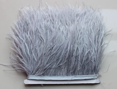 2 Two NATURAL grey  ostrich feather keyring  for gifts car office handbag