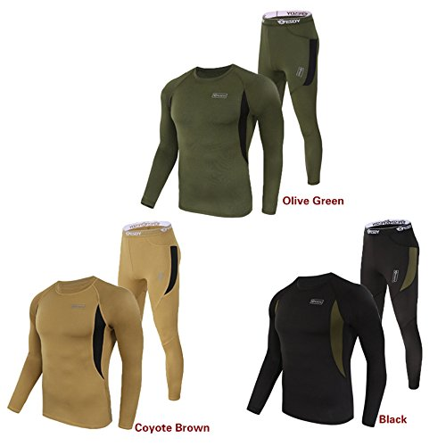IDOGEAR Men's Tactical Thermal Warm Underwear Set Fleece Tight Men Thermo Pullover Army Winter Quick-Drying Corsets