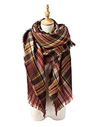 Women's Winter Scarf Classic Tassel Scarf Warm Soft Chunky Large Blanket Wrap Shawl Scarves
