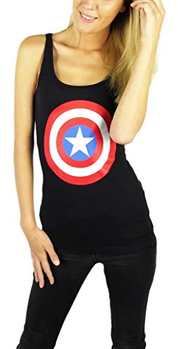 Marvel Womens Captain America Shield Tank Top Large Black -
