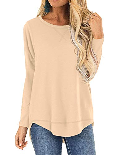Youdiao Women's Long Sleeve Tops Side Split Round Neck Casual T-Shirts Loose Tunic Tops Blouses
