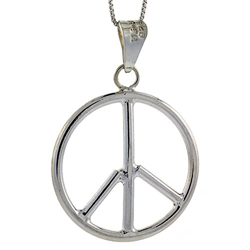 Sterling Silver Large Peace Sign Pendant Handmade 1 1/2 inch (39 mm) Round -