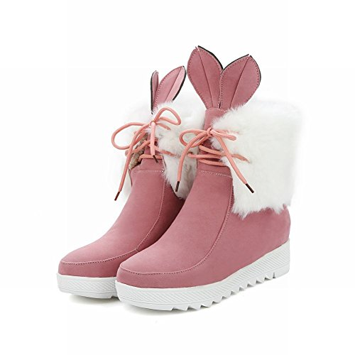Boots Lacing Fur Pink Ears Snow Womens Faux Bunny Show Cute Shine UznqX