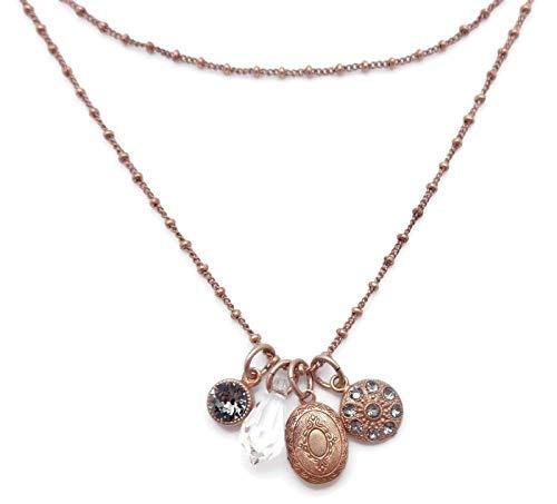 (Catherine Popesco Dark Grey & Clear Swarovski Crystal Goldtone Layered Locket Charm Necklace)
