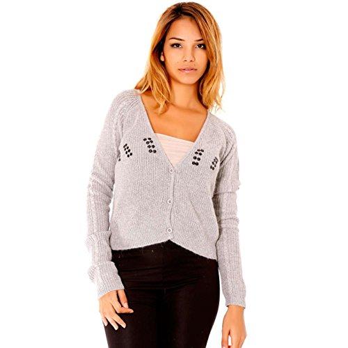 Miss Wear Line - Gilet court gris style tricot avec strass