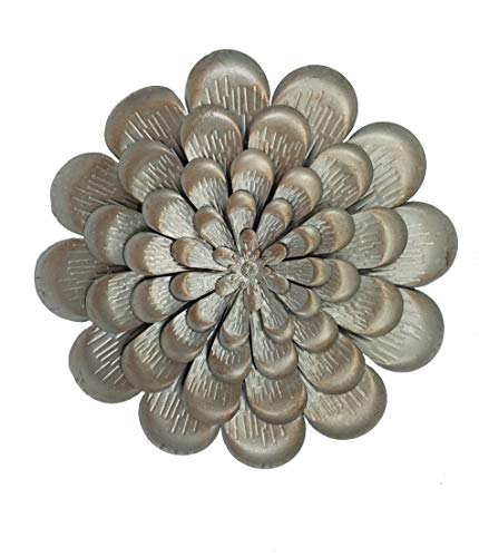 OSW Silver Metal Flower Wall Decoration, 15 inch with Layered Petals, Accented with Copper Color for Bathroom, Living Room, Kitchen, Bedroom Decor or Outdoor Art for Garden and Patio (Flowers Art Silver Wall Metal)