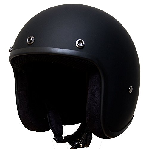 (Voss 501 Bobber Style Fiberglass Ultra Slim DOT Helmet with Metal Quick Release Low Profile Lightweight Shell - XL - Matte Black)