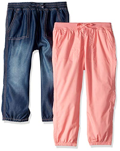 Limited Too Girls' Big 2 Pack Capri Denim Jogger Pant Set, Apricot Multi, 10/12 ()