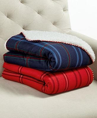 Martha Stewart Classic Sherpa Throw (Navy Plaid)