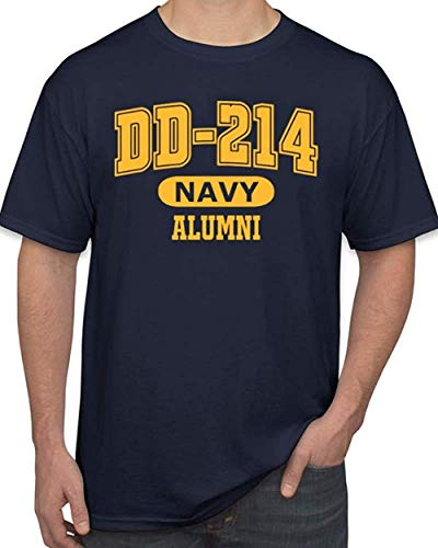 DD-214 Alumni Navy and Gold US Navy T Shirt for Proud, Brave Navy Veterans Tshirt (Large)