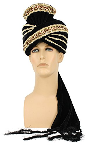 Men's King Turban Costume Hat (Black) - Indian Maharaja Costumes