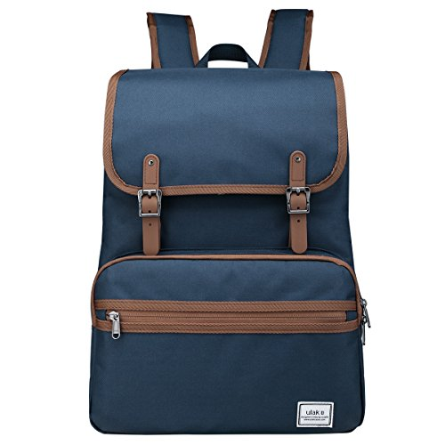 Laptop Backpack, Lightweight College School Backpack,Travel Every Day Backpack,ULAK Slim Anti Theft Computer Book Bags Water-resistant Eco-friendly Bag Fits Under 15.6'' Laptop & Note Book- Navy Blue by ULAK