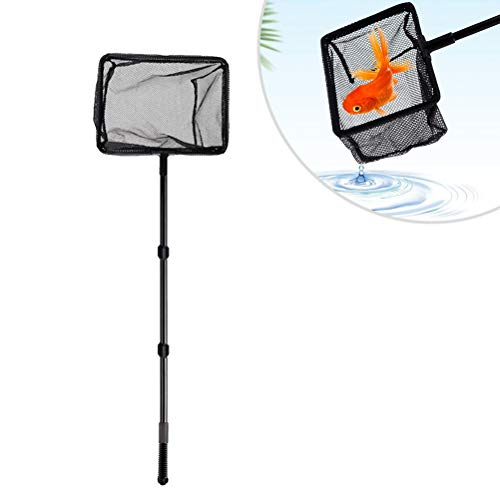 POPETPOP Extendable Fishing Net Plastic Pole Handle Telescopic Landing Net Tuck Net for Fish Tank Lakes Ponds (Size L)