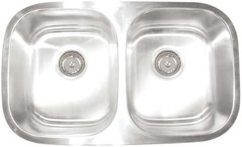 Artisan AR 3218 D97-D Premium Collection 16 6auge 30-Inch Undermount Double Basin Stainless Steel Kitchen Sink 7-Inch Right Basin Depth and 9-Inch Left Basin Depth