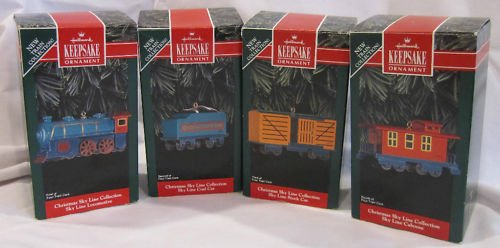 (1992 Christmas Sky Line Collection Set of 4 Hallmark Ornaments - Locomotive, Coal Car, Stock Car, Caboose)