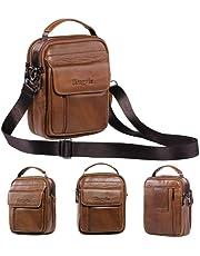 hengwin Skórzane torby na ramię dla mężczyzn, mała torba na ramię, torba biznesowa, torba kurierska, torebka na telefon komórkowy, torba podróżna z paskiem