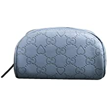 Gucci Blue Guccissima Leather Heart Makeup Cosmetic Bag Case