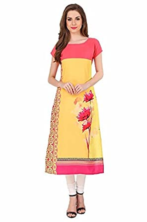 New Ethnic 4 You Women's Crepe Straight Kurti Women's Kurtas & Kurtis at amazon