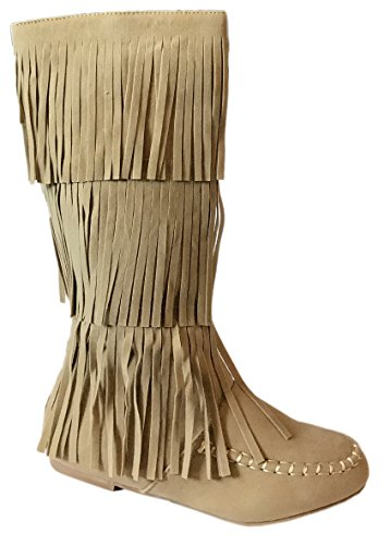 New Girls Suede Fringe Tassel Moccasin Faux Suede Fashion Children Boots Shoes (Sand- Dense, Little Kid 13)