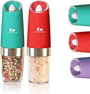 Kitchen Mama Electric Salt Pepper Grinder Set: One-flip To Trigger Grinding, Battery Operated Refillable Autom