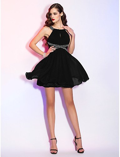 Mini Lace Draping rebordear Scoop A Holiday Homecoming con de Gasa de Cuello Cóctel Dress AIURBAG Line qgfZI