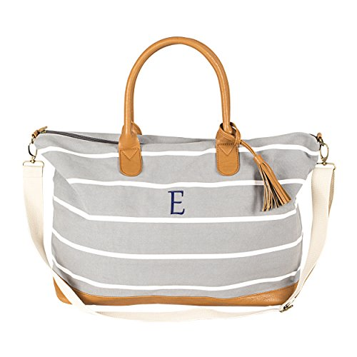 (Cathy's Concepts Oversized Personalized Gray Striped Canvas Weekender Tote)