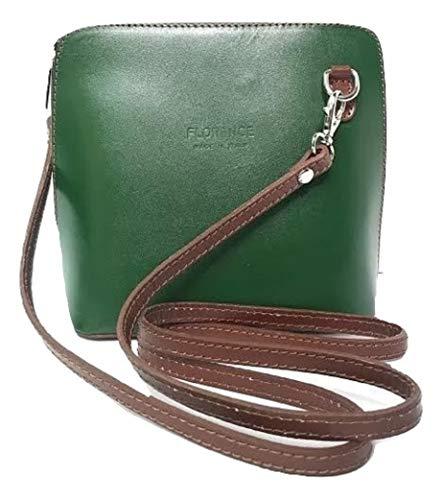 LaGaksta Small Flat Handmade Italian Leather Crossbody Bag Purse Clutch Dark Green-Brown