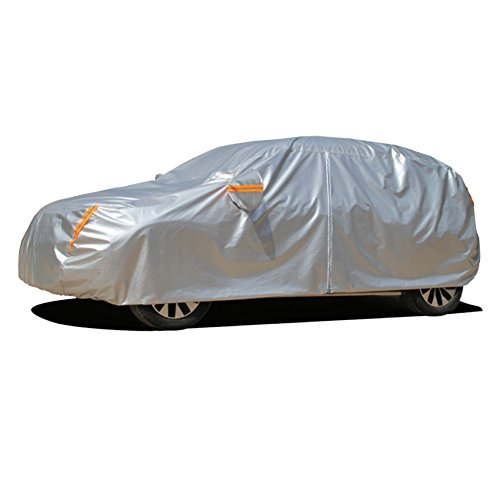 Kayme Four Layers Waterproof All Weather Car Covers with Cotton Zipper Sun Uv Rain Protection for Automobiles Indoor Outdoor Fit Hatchback (Up to 177