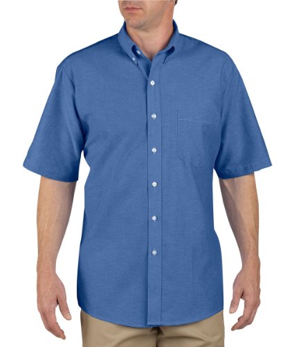 Sleeve Shirt Short Oxford Dickies - Dickies Occupational Workwear SS46FB 155 Polyester/Cotton Men's Button-Down Short Sleeve Oxford Shirt, 15-1/2