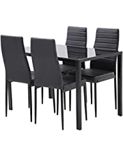FDW Dining Table Set Dining Table Dining Room Table Set for Small Spaces Kitchen Table and Chairs for 4 Table with Chairs Home Furniture Rectangular Modern,Black